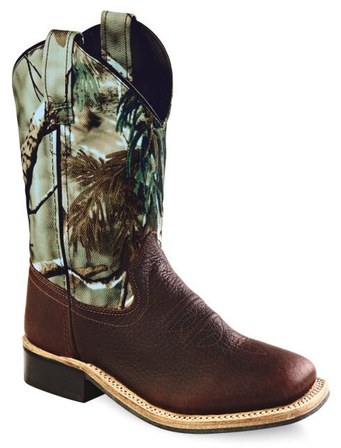 Old West Kids' Oiled Rust Camo Cowboy Boots - Square Toe, Oiled Rust, hi-res