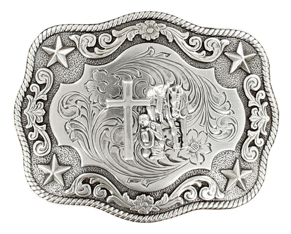 Nocona Rope Edge Cowboy Prayer Buckle, Silver, hi-res
