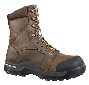 "Carhartt Men's 8"" Rugged Flex Waterproof Insulated Composite Toe Work Boots, Brown, hi-res"