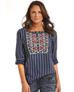 White Label by Panhandle Women's Embroidered Bib Blouse, Multi, hi-res