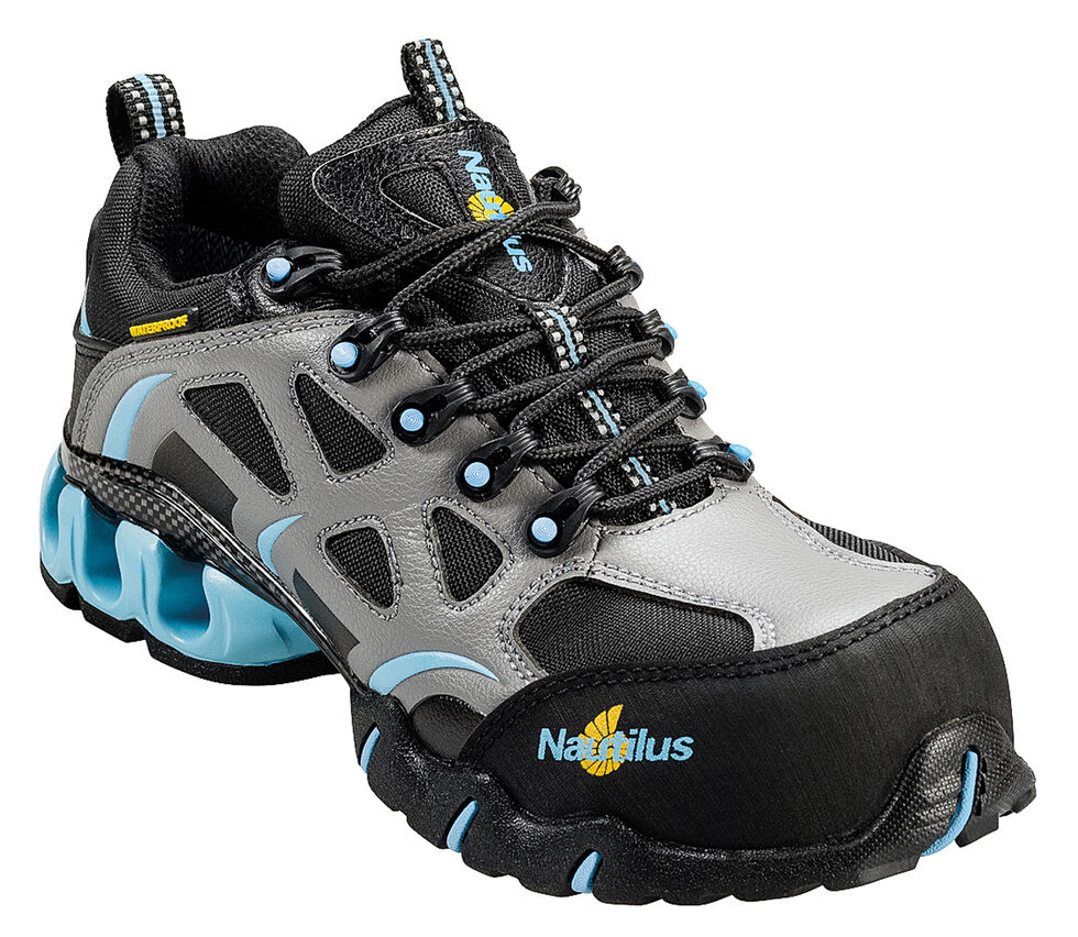 Nautilus Women's Grey and Blue Nylon Microfiber Athletic Work Shoes - Composite Toe, Grey, hi-res