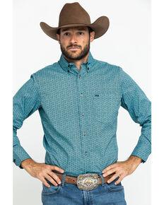 Wrangler 20X Men's Competition Blue Geo Print Long Sleeve Western Shirt , Blue, hi-res