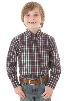 Wrangler George Strait Boys' Plaid Shirt, Wine, hi-res