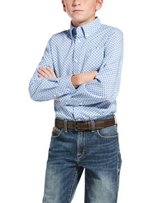 Ariat Boys' Jeanwood Stretch Geo Print Long Sleeve Western Shirt , Blue, hi-res