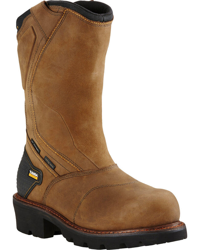 Ariat Men's Brown Powerline H20 400g Work Boots - Composite Toe, Brown, hi-res