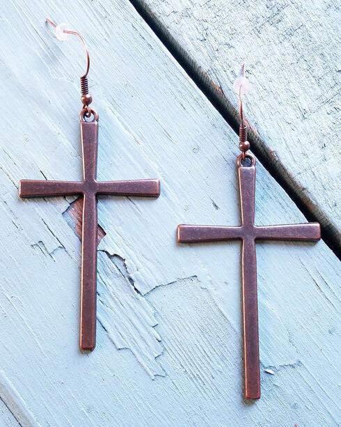 Jewelry Junkie Women's Copper Cross Earrings, Rust Copper, hi-res