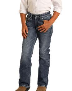 Rock & Roll Denim Boys' Dark Reflex Stretch Bootcut Jeans , Blue, hi-res