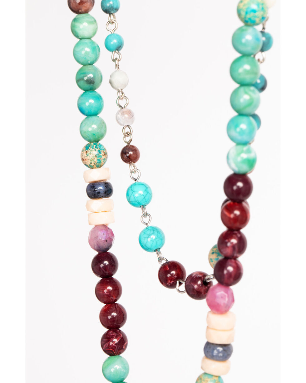 Shyanne Women's Guadalupe Double Layer Turquoise Stone Tassel Necklace, Multi, hi-res