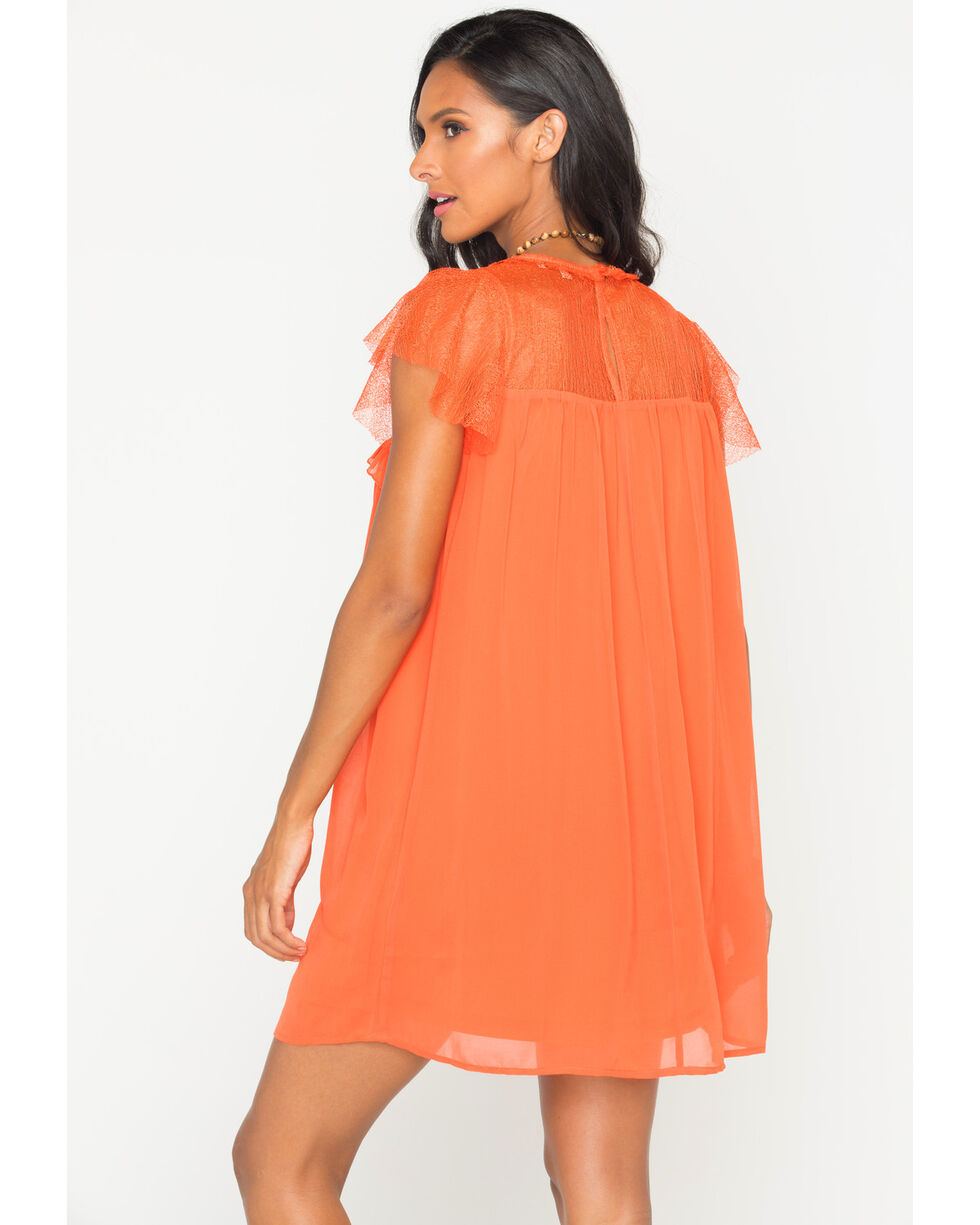 Polagram Women's Orange Lace Ruffle Sleeve Dress, Orange, hi-res