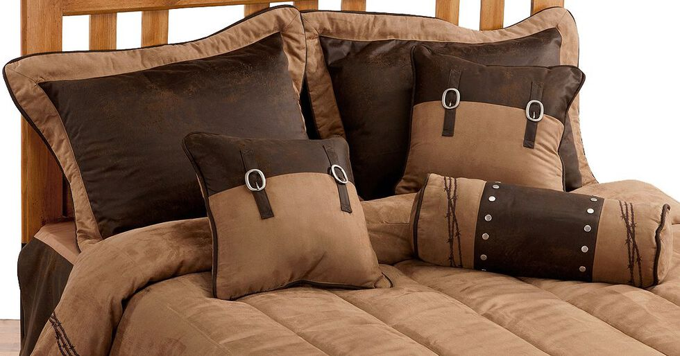 HiEnd Accents Barbed Wire Embroidery Bed In A Bag Set - King Size, Dark Brown, hi-res