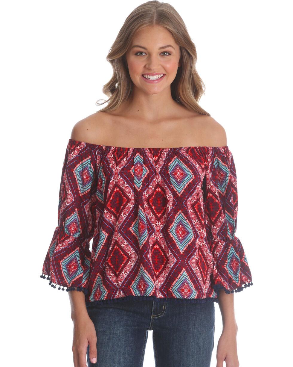 Wrangler Women's Rust Flounce Sleeve Top , Multi, hi-res