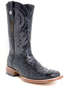 Tanner Mark Men's Black Ostrich Print Western Boots - Square Toe, Black, hi-res