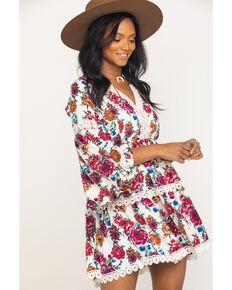 Rock & Roll Denim Women's Floral Crochet Tiered Dress, Multi, hi-res