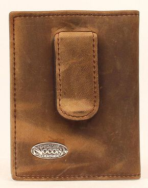 Nocona Logo Concho Money Clip Wallet, Med Brown, hi-res