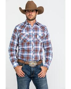 Wrangler Retro Men's Ombre Large Plaid Long Sleeve Western Shirt , Blue, hi-res
