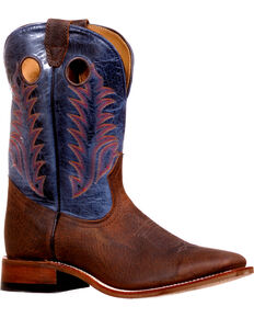 Boulet Men's Challenger Organza Azul Stockman Boots - Square Toe, Brown, hi-res