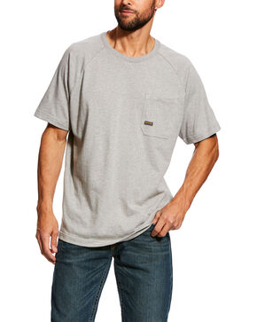 Ariat Men's Grey Rebar Cotton Strong Short Sleeve Logo Crew T-Shirt - Tall , Grey, hi-res