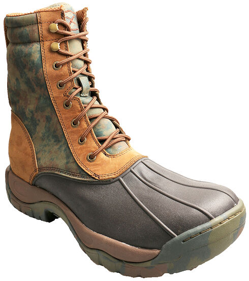 Twisted X Waterproof Lace-Up Camo Rubber Boots - Round Toe, Brown, hi-res