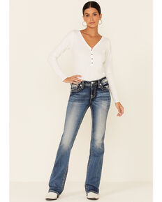 Miss Me Women's Chloe Medium Wash Bootcut Jeans , Dark Blue, hi-res