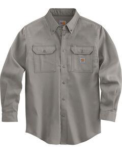 Carhartt Flame Resistant Work-Dry® Twill Long Sleeve Shirt - Big & Tall, Grey, hi-res