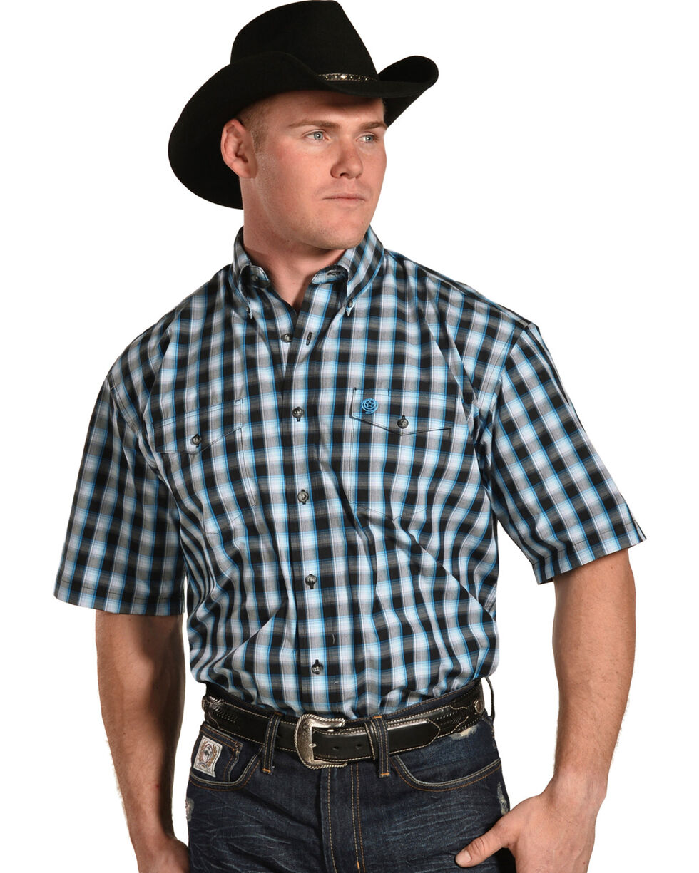 Wrangler Men's George Strait Plaid Short Sleeve Shirt , White, hi-res