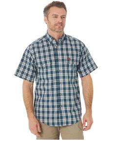 Wrangler Riggs Men's Blue Small Foreman Plaid Short Sleeve Button-Down Work Shirt - Tall, Blue, hi-res