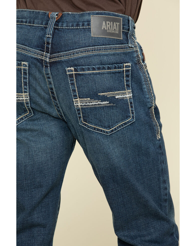 Ariat Men's M4 Denali Dark Stretch Low Relaxed Bootcut Jeans , Blue, hi-res