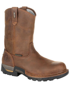 Georgia Boot Men's Eagle One Waterproof Pull-On Work Boots - Soft Toe, Brown, hi-res