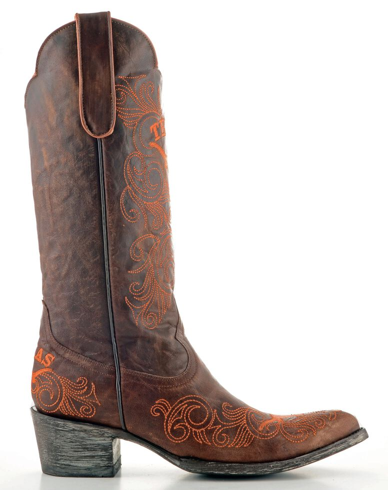 Gameday University of Texas Cowgirl Boots - Pointed Toe, Brass, hi-res