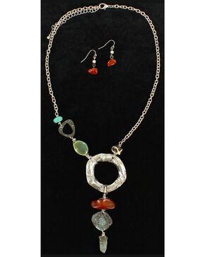 Blazin Roxx Hammered Metal Statement Necklace & Earrings Set, Multi, hi-res