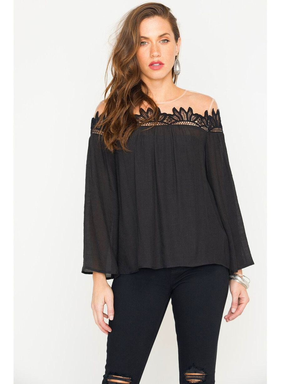 Polagram Women's Long Sleeve Lace Trim Top, Black, hi-res
