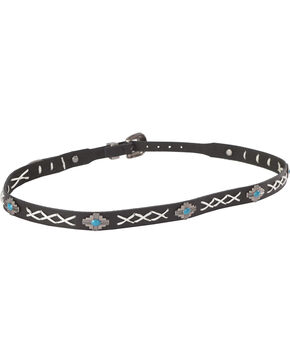 Cody James Cross Stitch Hat Band with Turquoise Conchos, Black, hi-res