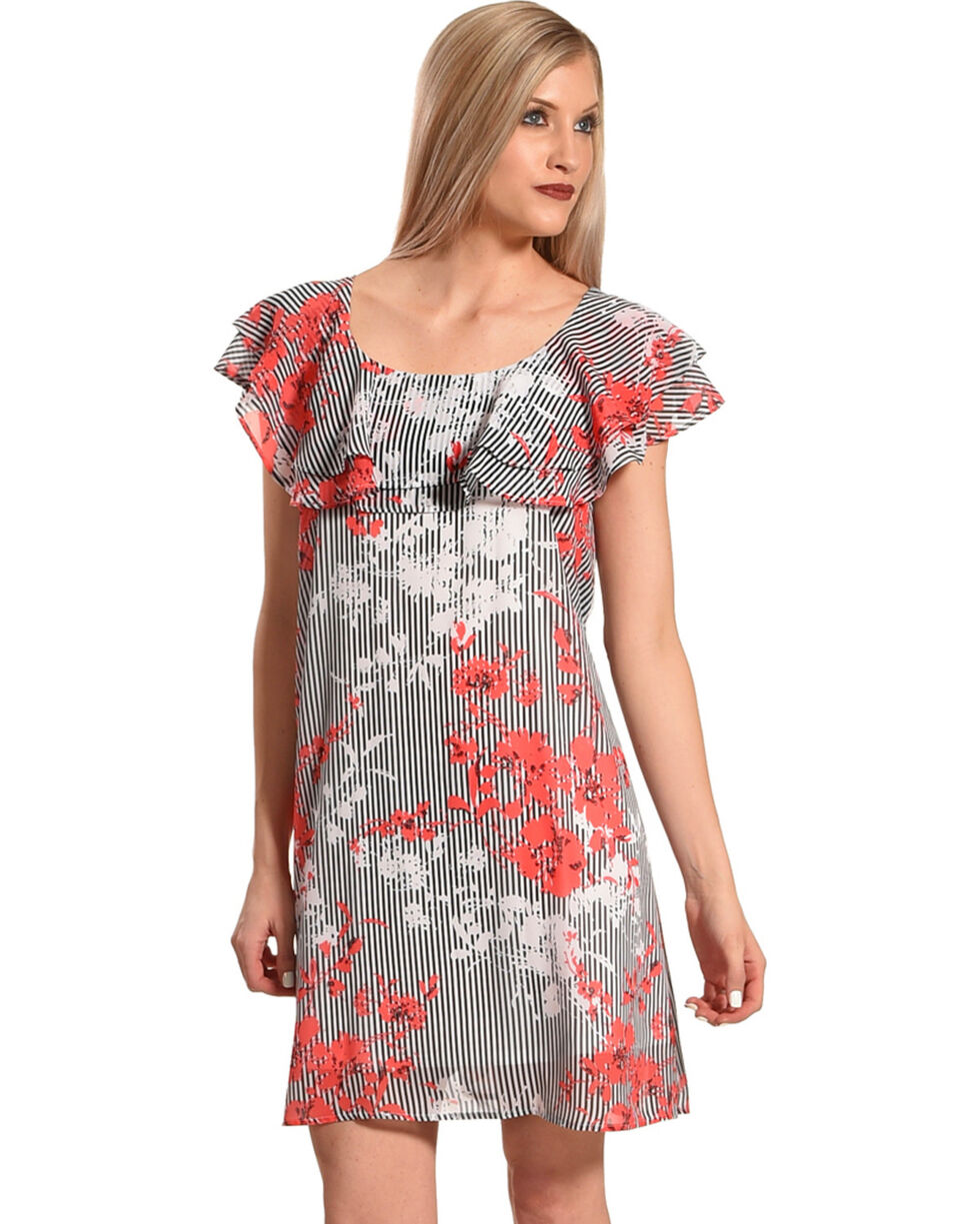 Harlow & Rose Women's Floral Criss Cross Ruffle Dress , Black, hi-res