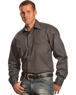 Stetson Men's Charcoal Western Shirt , Charcoal Grey, hi-res