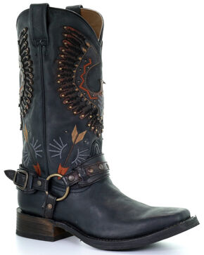 Corral Men's Black Harness Western Boots - Square Toe, Black, hi-res