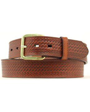 Double S Basketweave Embossed Money Pocket Leather Belt, Brown, hi-res