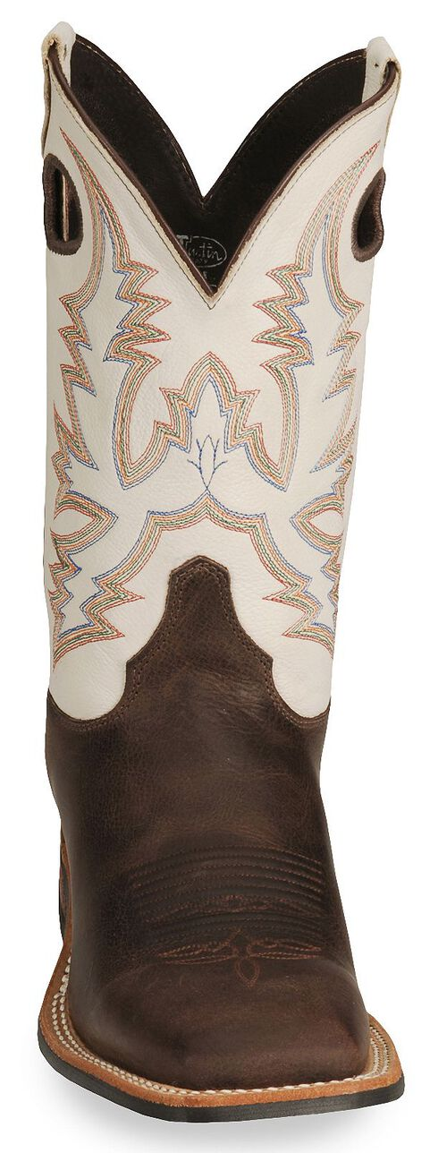 Justin Bent Rail Cowboy Boots - Wide Square Toe, Brown, hi-res