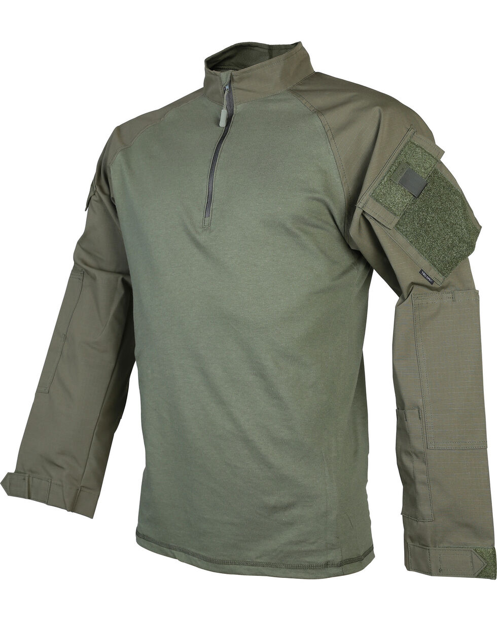 Tru-Spec Men's T.R.U. 1/4 Zip Combat Shirt - Tall, Green, hi-res