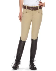 Ariat Girls' Performer Euro Seat Riding Breeches, Beige, hi-res