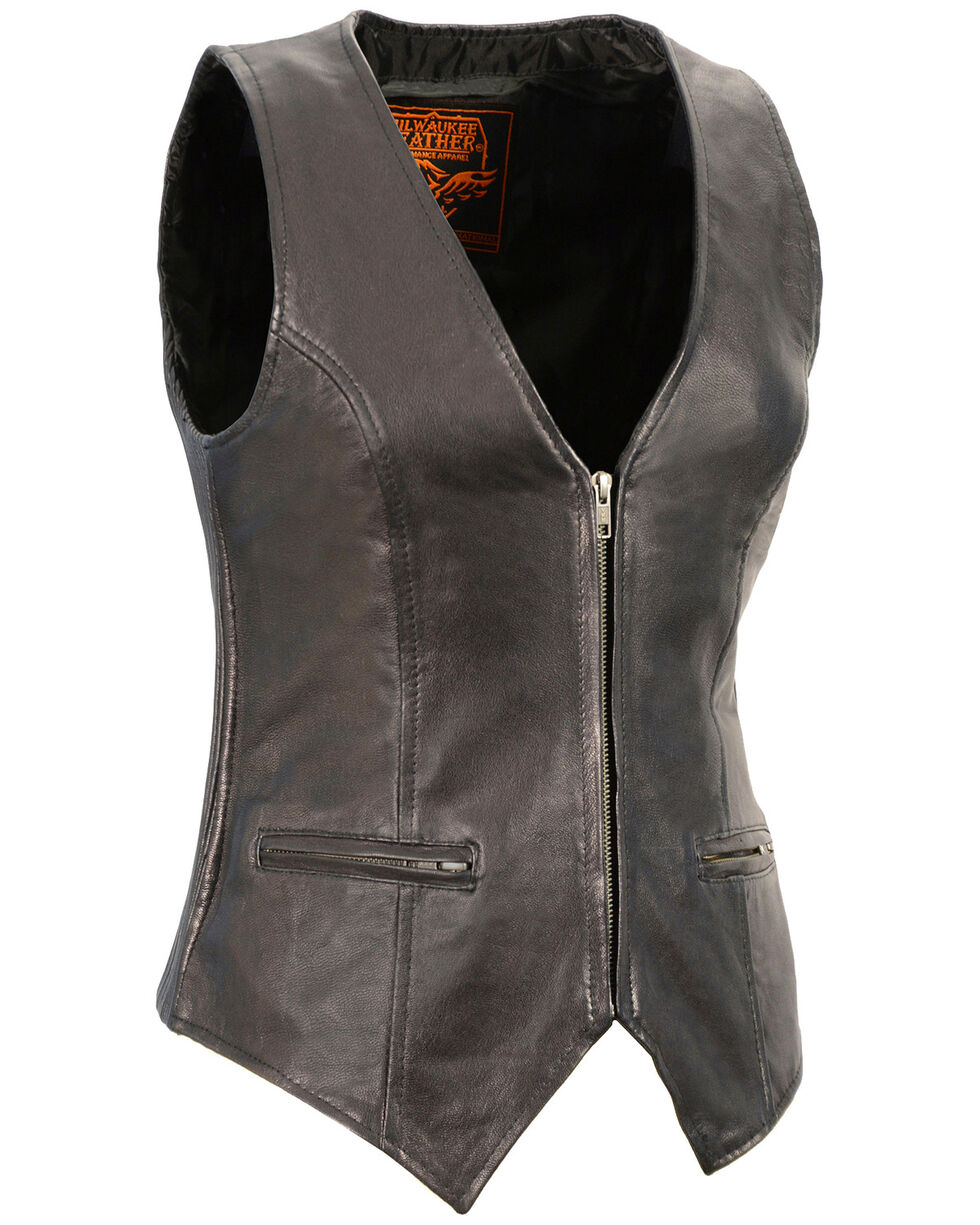 Milwaukee Leather Women's Black Lightweight Front Zipper Conceal Carry Vest - 4X , Black, hi-res