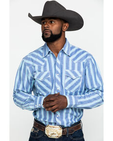 Wrangler 20X Men's Advanced Comfort Blue Striped Long Sleeve Western Shirt , Blue, hi-res