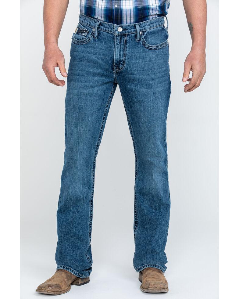 Cinch Men's Ian Medium Stonewash Slim Bootcut Jeans , Blue, hi-res