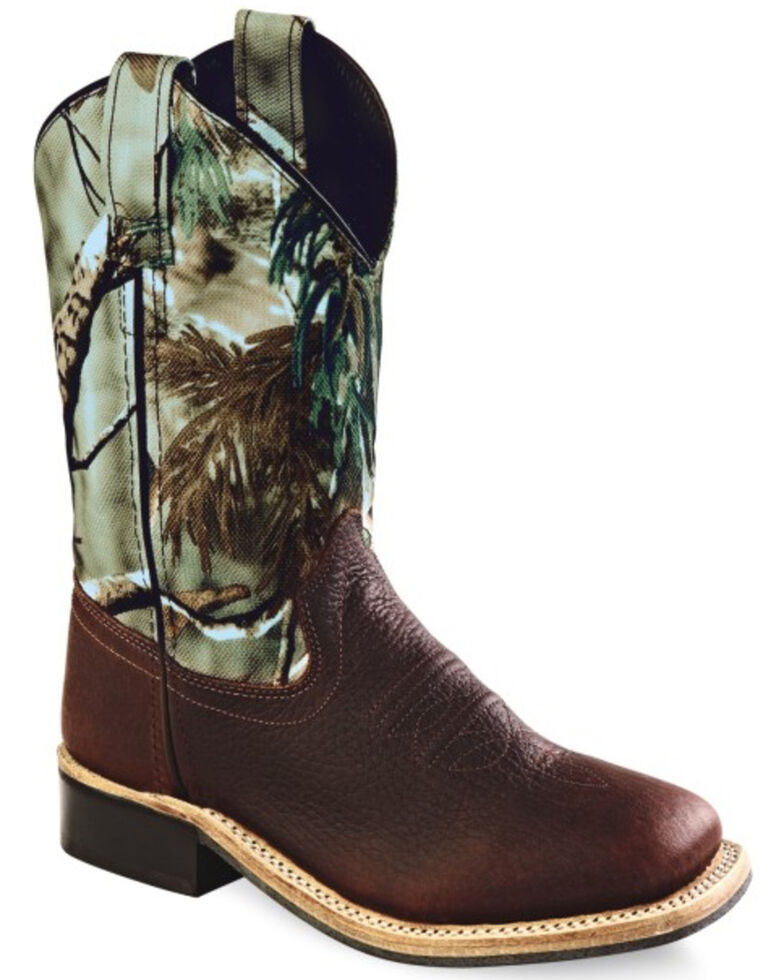 Old West Boys' Camo Western Boots - Square Toe, Oiled Rust, hi-res