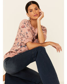 Jolt Women's Blush Floral Print Raglan Short Sleeve Sweatshirt  , Blush, hi-res