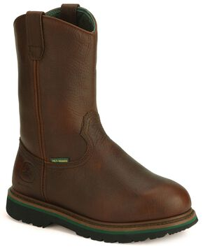 John Deere Met Guard Wellington Work Boots - Steel Toe, Dark Brown, hi-res