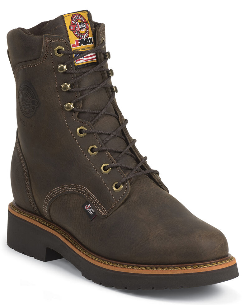 """Justin Men's J-Max 8"""" Blueprint Lace-Up EH Work Boots - Soft Toe, Chocolate, hi-res"""