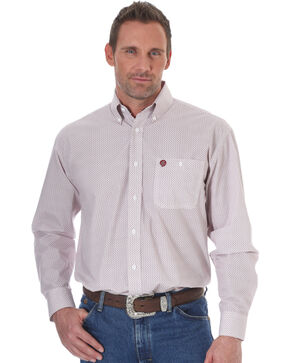 Wrangler Men's White George Strait Small Print Shirt , White, hi-res