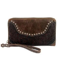 Montana West Women's Hand Tooled Wallet, Dark Brown, hi-res