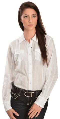 Ariat Women's Alice Lurex Snap Western Shirt, White, hi-res