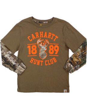 Carhartt Boys' Brown Hunt Club Layered T-Shirt , Brown, hi-res